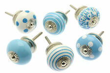 6 x Mixed Blue & White Ceramic Cupboard Knobs Cabinet Drawer Pulls (MG-219-A)
