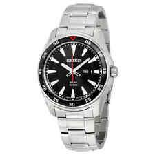 Seiko Solar Black Dial Stainless Steel Men's Watch SNE393