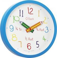 London Clock Company Blue Childrens Time Teaching Wall Clock