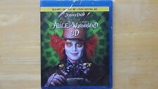 Disney ALICE IN WONDERLAND 2016 Blu-Ray+ Blu-Ray 3D + DVD+Digital HD New Sealed