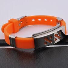 Unisex Men Stainless Steel Rubber Silicone Bracelet Orange Adjustable Size G7