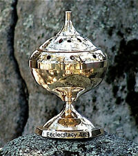 "Brass Censer Incense Burner, Resin, Cones 7""H x 4""D - NEW"