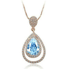 Angel Tear Gold & Ocean Blue Crystal Elements Pendant Necklace N99