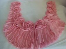 1 Pc Pink Ruffled Rose  Floral Scalloped Round neck  Applique Yoke