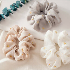 Shiny Star Print Chiffon Hair Scrunchies Girl Elastic Rubber Hair Band Accessory