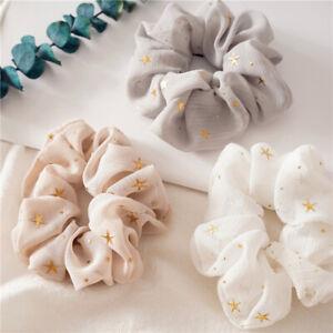 Shiny Star Print Chiffon Hair Scrunchies Girl Elastic Rubber Hair Band Accessory
