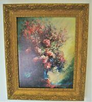 Framed Gold Georges De Marco Print Painting Pink Still Life Flower Design France