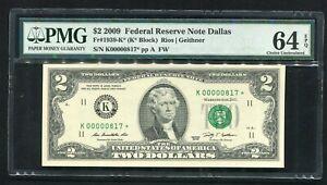 "FR. 1939-K* 2009 $2 *STAR* FRN DALLAS, TX ""LOW SERIAL #817*"" PMG UNC-64EPQ"