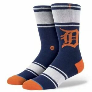 STANCE Men's Detroit Tigers Crew Sock BLUE SIZE SMALL / MEDIUM (6-8.5) NWT $18