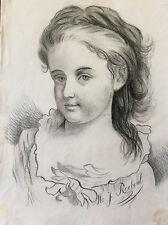 Dessin fusain portrait petite fille enfant signé M. J. Reboul XIXème