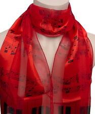 Schal mit Noten Klavier Tasten Tastatur Streifen rot schwarz Damen Herren 063 r