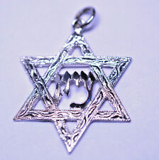 """14K WHITE GOLD STAR OF DAVID WITH """"ZION"""" IN HEBREW PENDANT OR LARGE CHARM"""