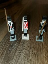 """Wooden Soldiers 4"""" Inch Hand Painted Decor Set Of 3"""