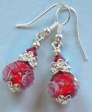 RED FLORAL LAMPWORK bicone CRYSTAL earring SP handcrafted
