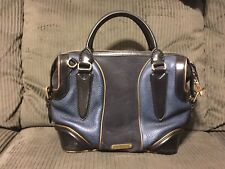 AUTHENTIC BURBERRY BLUE SUEDE LEATHER SATCHEL RARE GOLD BOWLER BAG PURSE HANDBAG