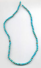 "MEXICAN CAMPITOS TURQUOISE & BOULDER ROUND BEADS - 17.75"" Strand - 029C"