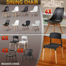 4X 6X Wooden Retro Replica Eames PU Eiffel DSW Dining Chairs Cafe Office Kitchen