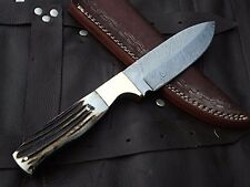 DKC-724 STAG PRINCE Damascus Stag Horn Bowie Hunting Handmade Knife Fixed Blade