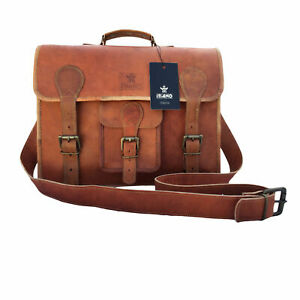 """ITIANO 15"""" Inch Vintage Genuine Leather Laptop Messenger Bag for Men, Women"""