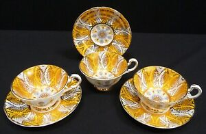 Paragon Avon Shape Gold And Yellow Cups And Saucers x 3