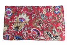 Cotton kantha quilt handmade mukut bedding bedspread indien red king size gudari