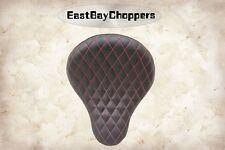 """La Rosa Chopper Bobber 16"""" Vinyl Solo Seats Black with Red Thread Diamond Tuk"""