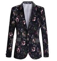 Men's Casual Slim Fit Floral printed  One Button formal Suit Blazer Coat Jacket