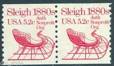 1880's Sleigh 5.2¢ mnh coil pair USA #1900 transportation series 1983