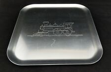 Vintage Kensington Stainless Tray with Etched Train - Model Train Favorite