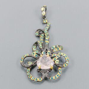 5ct+ Handmade Rose Quartz Pendant Silver 925 Sterling  /NP12950