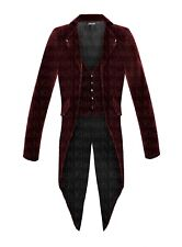 Men Steampunk Burgundy Red Tailcoat Jacket Velvet Gothic Victorian Coat VTG