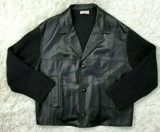 Fabrizio Del Carlo Leather Jacket L Black Knit Trench Coat Mens Leather Large