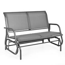 "48"" Patio Swing Glider Bench Chair Loveseat Rocker Fabric Lounge Outdoor Grey"
