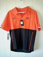 NWT Nike Oklahoma State Cowboys football 1/4 zip orange/black pullover Sz S NCAA