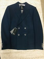 New Seven 7 Square Men's Blue Wool Double Breasted Blazer Jacket Size 44