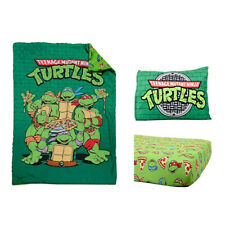 Tmnt Green Toddler Reversible Comforter Classic Designed 3 Piece Bedding Set