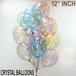 "12"" inch Crystal Clear Air/Helium Fill Latex Ballons Birthday Party All Event"