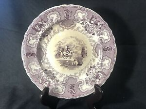 """Historical Staffordshire Texian Campaigne 9 1/4"""" Plate Ca. 1835. Purple. RARE"""