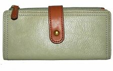 FOSSIL Dusty Green Leather Trifold Clutch Wallet NWT