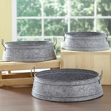 Galvanized Metal Buckets - Multipurpose Home Decorations - Set of 3