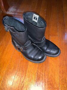 Frye Women  Engineer Biker Leather Boot Black Size 6 M