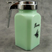 JADEITE GREEN GLASS HONEY SYRUP DISPENSER CANISTER w/ CHROME POURING HANDLE