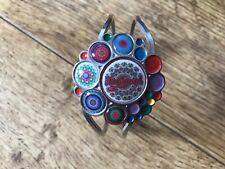 Silver & Multi coloured gemstone Desigual bangle cuff bracelet