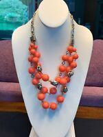 Vintage Watermelon pink beaded gold bib statement necklace Vtg Boho Fashion
