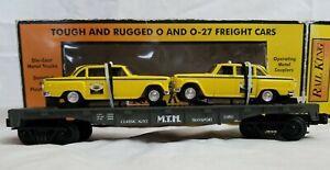 1998 MTH RAILKING #30-7625 MTH AUTO FLAT CAR w/ ERTL '59 TAXIS w/ ORIG. BOX