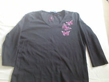 DEBENHAMS CASUAL CLUB BLACK TOP WITH BUTTERFLY EMBROIDERY DETAIL - SIZE 14