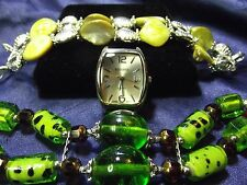 Kessaris Woman's Watch with 2 Bands **Glass & Mother of Pearl Beads** B29-B087