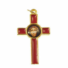 Catholic Sacred face of Jesus cross in red enamel gold tone finish 3.6cm