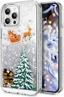 iPhone 11 12 Pro Max - Liquid Waterfall TPU Glitter Case Christmas Santa Claus