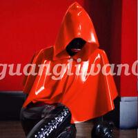 New 100% Latex Rubber Mysterious Unisex Coat Hoodie Cloak Size S-XXL